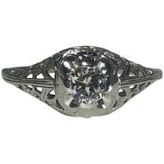 Art Deco 18 Karat .29 Carat Old European Cut Diamond Solitaire Engagement Ring