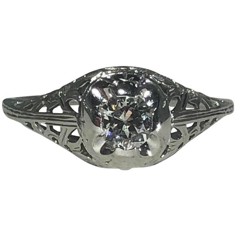 Art Deco 18 Karat .29 Carat Old European Cut Diamond Solitaire Engagement Ring For Sale