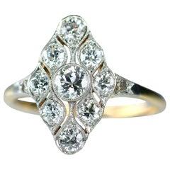 Art Deco 18 Karat Gold and Platinum Diamond Ring