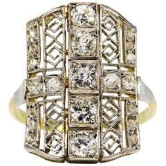 Art Deco Ring aus 18 Karat Gold und Platin mit Diamanten