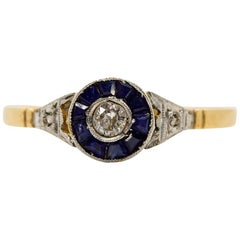 Art Deco 18 Karat Gold and Platinum Diamonds Ring