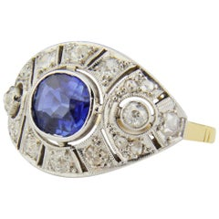 Art Deco, 18 Karat Gold, Ceylon Sapphire and Diamond Ring