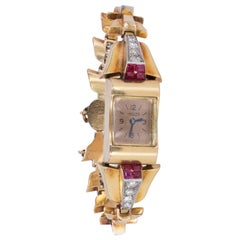 Art Deco 18 Karat Gold, Diamond and Ruby Lady Jaeger Wristwatch, 1930s