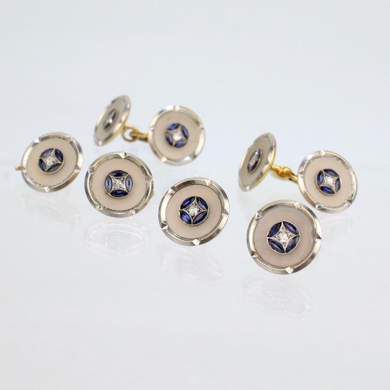 Art Deco 18 Karat Gold, Mother of Pearl, Sapphire and Diamond Cufflink Dress Set In Good Condition For Sale In Philadelphia, PA