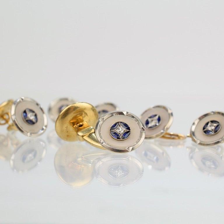 Men's Art Deco 18 Karat Gold, Mother of Pearl, Sapphire and Diamond Cufflink Dress Set For Sale