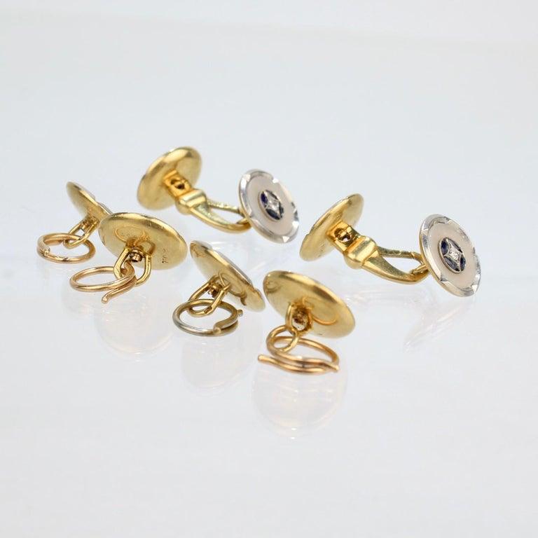Art Deco 18 Karat Gold, Mother of Pearl, Sapphire and Diamond Cufflink Dress Set For Sale 1