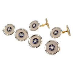 Art Deco 18 Karat Gold, Mother of Pearl, Sapphire and Diamond Cufflink Dress Set