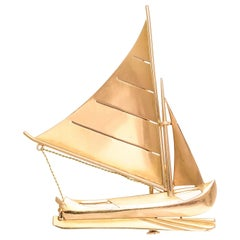 Art Deco 18 Karat Gold Sailboat Brooch