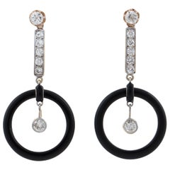 Art Deco 18 Karat Onyx and Diamond Drop Earrings