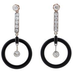 Art Deco 18 Karat Onyx and Diamond Drop Earrings