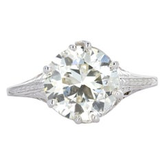 Art Deco 18 Karat White Gold 3.27 Carat Old European Cut Diamond Engagement Ring