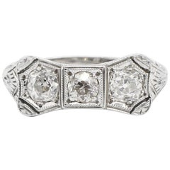 Art Deco 18 Karat White Gold .65 Carat Old European Cut Diamond Ring