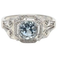 Art Deco 18 Karat White Gold and Blue Topaz Engagement Ring
