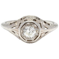 Art Deco 18 Karat White Gold and Diamond Filigree Engagement Ring
