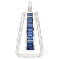 Art Deco 18 Karat White Gold Blue Sapphire Baguette Diamond Linear Pendant