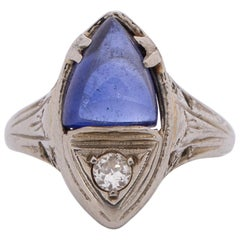 Art Deco 18 Karat White Gold Diamond and Sapphire Cabochon Marquee Style Ring