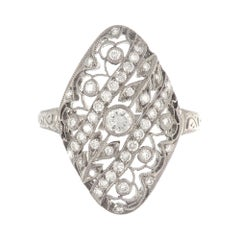 Art Deco 18 Karat White Gold Diamond Filigree Ring