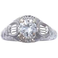 Art Deco 18 Karat White Gold Diamond Ring