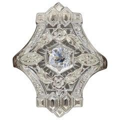 Art Deco 18 Karat White Gold Diamond Shield Ring