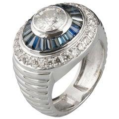 Art Deco 18 Karat White Gold Diamonds and Sapphires Cluster Ring