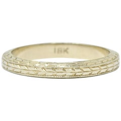 Art Deco 18 Karat White Gold Engraved Wheat Band Ring
