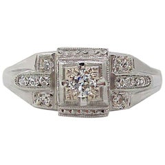 Art Deco 18 Karat White Gold Euro Cut Diamond Engagement Ring