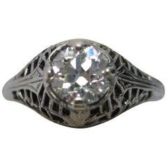 Art Deco 18 Karat White Gold Old Euro Cut Diamond Ring with GIA Report