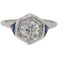 Art Deco 18 Karat White Gold Old Mine Cut Diamond Sapphire Engagement Ring