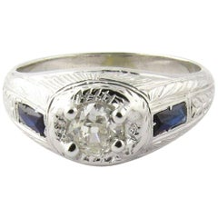 Art Deco 18 Karat White Gold Old Mine Diamond and Sapphire Ring