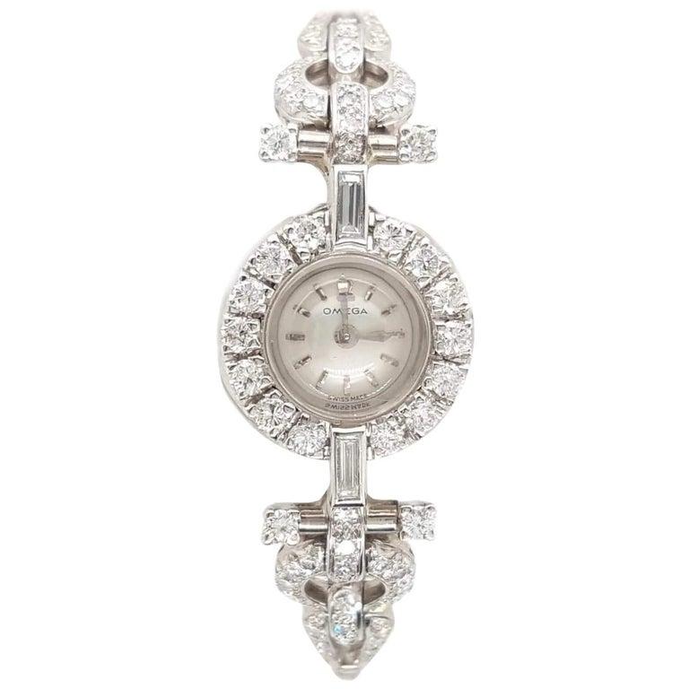 Art Deco Style 18 Karat White Gold Omega Diamond Ladies Swiss Wristwatch For Sale