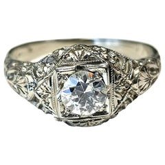 Art Deco Style 18 Karat White Gold Ring with G/SI1 Round Diamond