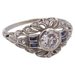 Art Deco 18 Karat White Gold, Sapphire and Diamond Ring, 1930s