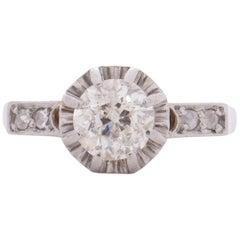 Art Deco 18 Karat White Gold Solitaire Vintage Engagement Ring