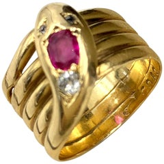 Art Deco 18 Karat Yellow Gold Diamond and Ruby Snake Ring, circa 1920
