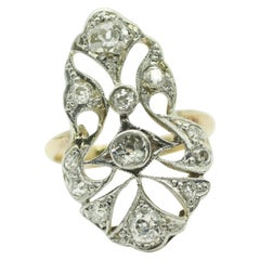 Art Deco Style 18 Karat Yellow Gold Diamond Ring