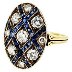 Art Deco 18 Karat Yellow Gold Diamond Sapphire Oval Lattice Ring