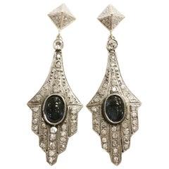 Art Deco 18 Karat Yellow Gold Platinum, Sapphire Cabochon Diamonds Drop Earrings