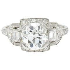 Art Deco 1.80 Carat Diamond Platinum Geometric Engagement Ring GIA