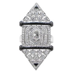 Art Deco Style 1.80+ Carat Diamonds and Black Enamel Ring 18K White Gold