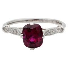 Art Deco 1.80 Carat Natural No Heat Ruby Diamond Platinum Ring