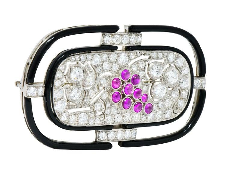 Round Cut Art Deco 1.80 Carat Diamond Ruby Platinum Grape Cluster Enamel Brooch For Sale