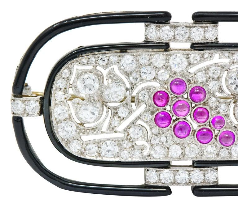 Art Deco 1.80 Carat Diamond Ruby Platinum Grape Cluster Enamel Brooch In Excellent Condition For Sale In Philadelphia, PA