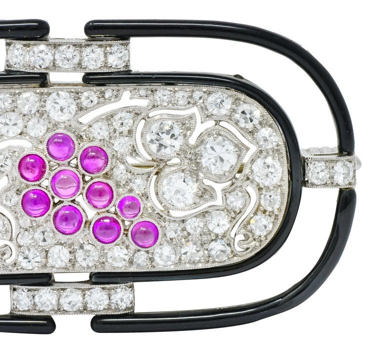 Women's or Men's Art Deco 1.80 Carat Diamond Ruby Platinum Grape Cluster Enamel Brooch For Sale