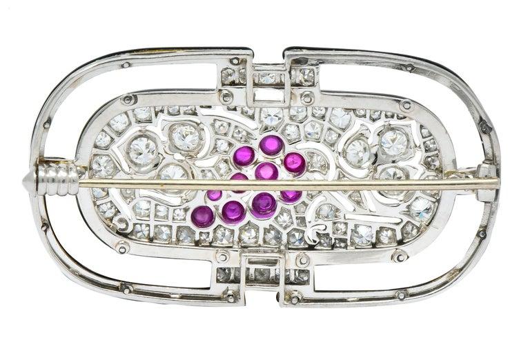 Art Deco 1.80 Carat Diamond Ruby Platinum Grape Cluster Enamel Brooch For Sale 2