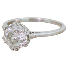 Art Deco 1.82 Carat Old Cut Diamond Platinum Engagement Ring