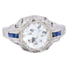 Art Deco 1.83 Carat Diamond Sapphire Platinum Engagement Ring GIA