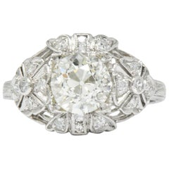 Art Deco 1.84 Carat Diamond Platinum Engagement Ring GIA