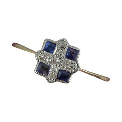 Art Deco 18ct Gold and Platinum Sapphire and Diamond Panel Cluster Ring