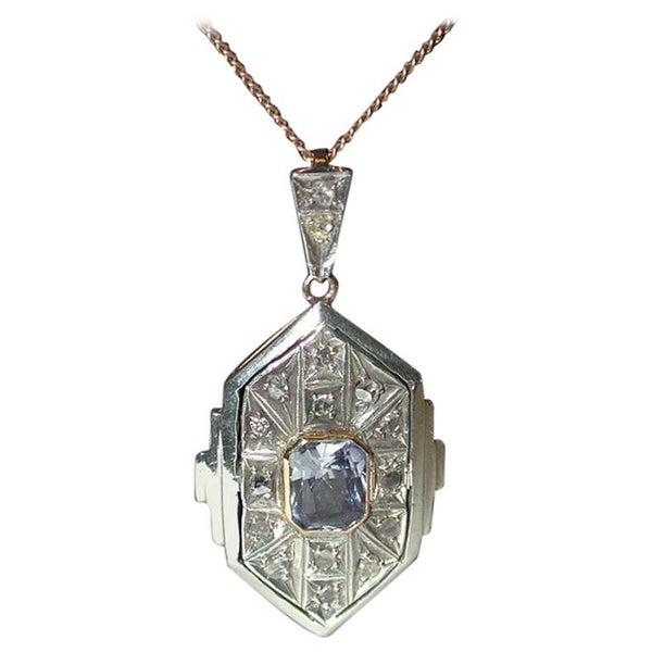 Art Deco 18ct & Silver Synthetic Sapphire & Diamond Set Pendant, Later 9ct Chain