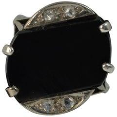 Art Deco 18 Carat White Gold Rose Cut Diamond and Onyx Slab Signet Ring